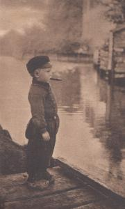 Dutch Volendam Boy Smoking In Military Uniform 1914 WW1 Postcard