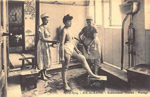 France Étabilssement Spa Massage Nude Thermal Equipment RPPC Real Photo Postcard