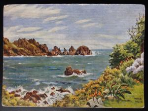Guernsey: The Pea Stacks from Moulin Huet - Art by Peter M Wood, Old Postcard