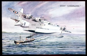 dc1121 - AIR FORCE Postcard 1940s Artist Signed Short Sunderland Patrol Bomber