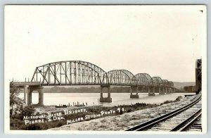 Pierre South Dakota~Missouri River Bridges~Traintracks Foreground~1920s RPPC