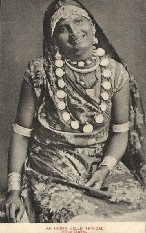 trinidad, B.W.I., Indian Belle, Necklace Nose Piercing, Jewelry (1916) Postcard