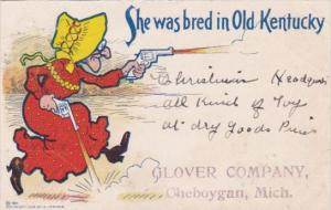 Humour Old Lady Shooting Guns She Was Bred In Old Knentucky 1906