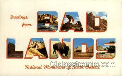Bad Lands, South Dakota, USA Large Letter USA Town, Towns, Postcard Postcards...