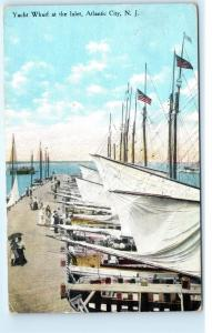 Atlantic City NJ Yacht Wharf at the Inlet Dock Pier Sailboats 1911 Postcard D09