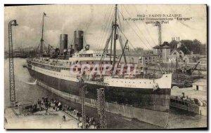 Postcard Old Ship Boat Transatlantic Spain Saint-Nazaire