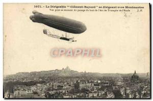 Old Postcard Aviation Zeppelin airship Clement Bayard heading to Montmartre V...