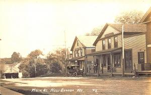 New Sharon ME Store Fronts Street View Covered Bridge Old Car RPPC Postcard