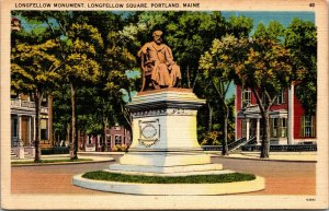 PORTLAND ME – State Street from Longfellow Square - POSTCARD monument