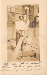 Peotone IL~Mrs Dr FA Holzhauer~Bro Walter~Construction~Almost Finished~1914 RPPC
