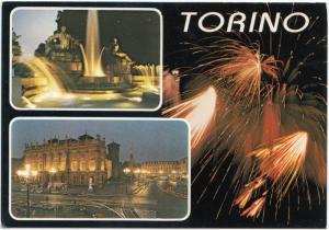 TORINO, by night, multi view, unused Postcard
