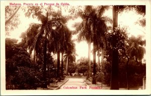 RPPC Havana Cuba Habana Columbus Park Fountain UNP Vtg Postcard 1930s AZO