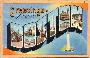 Boston MA~Large Letter Linen Postcard~Bunker Hill~Old State House~1950 PC