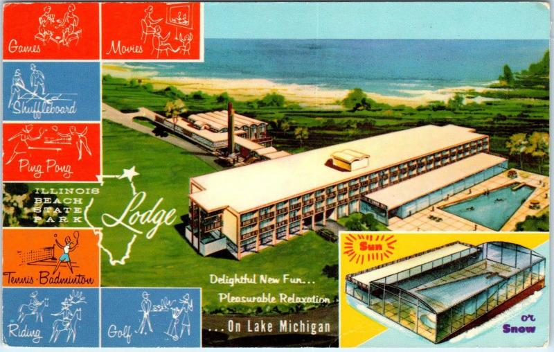 Zion Il Illinois Beach State Park Lodge Lake Michigan C1960sroadside