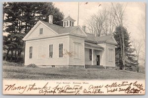 Conway Massachusetts~High School on Hillside~1906 B&W Postcard