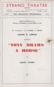 Tony Draws A Horse Lilian Braithwaite Drama Strand London Theatre Programme