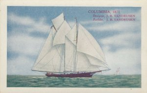America's Cup Racing Boat COLUMBIA, 1871 , 00-10s ; Varnish Co Ad