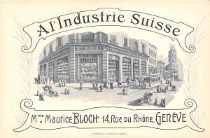 A l'Industrie Suisse, Mme Maurice Bloch 14, Rue du Rhone, Geneve, tram auto car