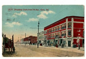 Gary Indiana Broadway South From 7th Horse Drawn Wagons People Postcard #75090