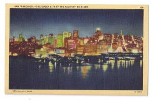 San Francisco at Night Piltz Linen Postcard
