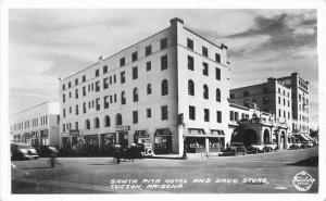 Autos Drug Store Santa Rita Hotel Frasher 1940s RPPC Photo Postcard 3567
