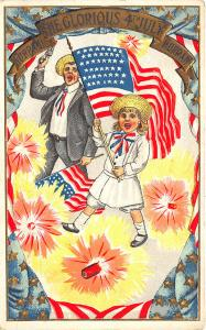 4th of July Man Child Flag Fire Crackers Postcard