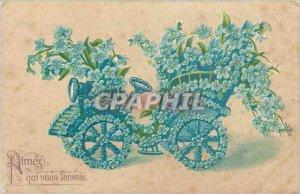 Old Postcard Aimes who sends it you Automotive Flowers