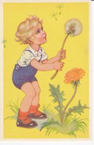 Blond Girl in Blue Overalls Holding Large Dandelion Bloom 1920-40s