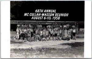 1958 Missouri RPPC Real Photo Postcard 68th Annual McCullah-Wesson Reunion