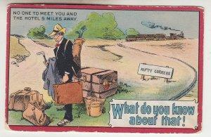 P2218, 1911 comic postcard RR train no one to meet you & hotel 5 miles away