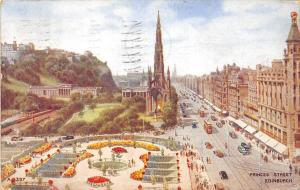 Scotland Princes Street Edinburgh trams cars animated scene illustration 1937