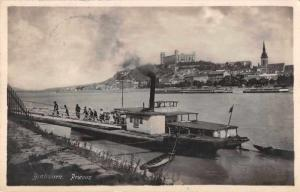 Bratislava Slovakia Prievoz Ferry Boat at Dock Real Photo Postcard J75459