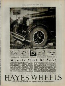 1924 Hayes Wheels Wheels Must Be Safe Vintage Print Ad 3959