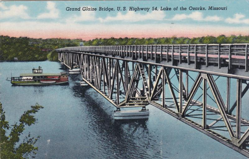 LAKE OF THE OZARKS, Missouri, 1900-1910's; Grand Glaize Bridge, U.S. Highway ...