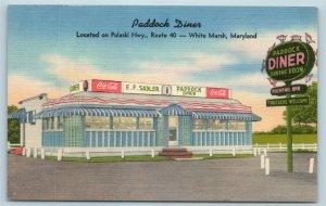 Postcard MD White Marsh Maryland Paddock Diner Cocktail Bar Coca Cola c1940s X6