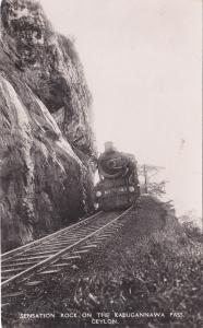 RP:Train on Railroad tracks, Sensation Rock,Kadugannawa Pass , Ceylon , 20-40s