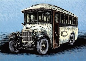 Bus Art Postcard, Thornycroft A2 20 seat single deck 1927 MN5002 Manx Buses 55S