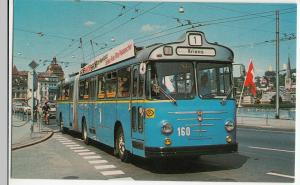 Buses; Lucerne, Switzerland No 160, Articulated Trolleybus PPC, By Pike Cards