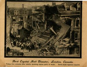 Canada - Ontario, London. July 16, 1907 Disaster. Reid's Crystal Hall Fatal C...
