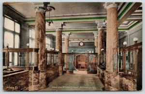 Wilkinsburg Pennsylvania~Bank Interior~Marble Pillars to Vault~Teller Cages~1910