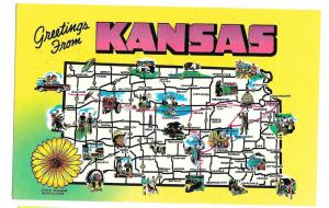 Greetings from Kansas State Map Highways Cities Vtg Postcard