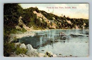 Duluth MN, Fond du Lac Lake View, Rocky Shoreline, Vintage Minnesota Postcard