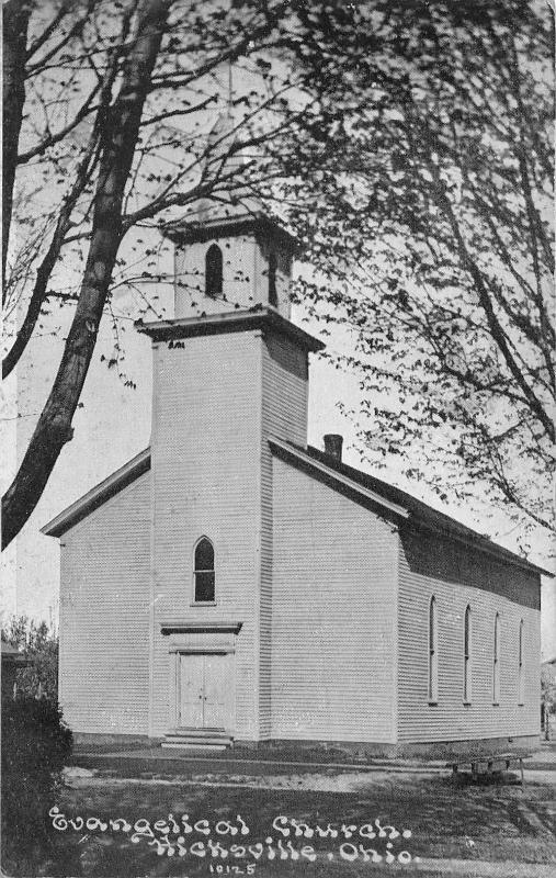 Hicksville Ohio~Evangelical Church~c1910 Blue Sky CU Williams Postcard