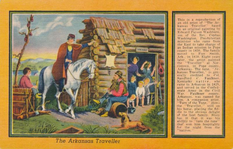 The Arkansas Traveler from an original painting by Edward Payson Washburn Linen