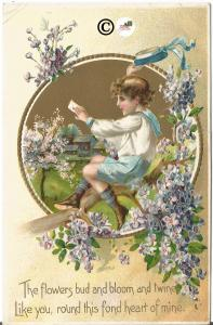 Ralph Tuck Postcard Boy Sitting in Purple Lilac Branch Looking at Love Letter