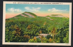 North Carolina colour PC Satulah Mountain And Fodderstack.  unused