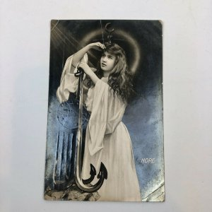 "RARE Vintage RPPC: Woman  ""Hope""Anchor Postcard POSTED  1907 LONDON"