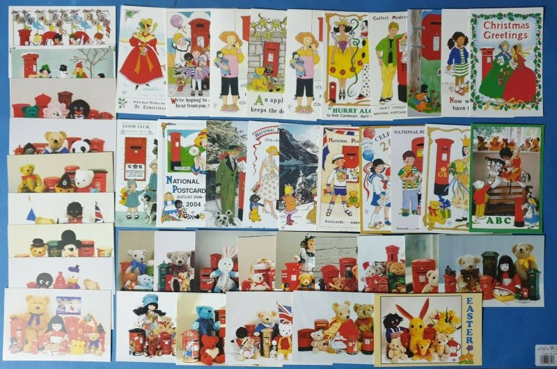 43 Art Postcards by Rosalind Wicks Teddy Bears, Post Boxes, AU7