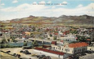 Juarez Mexico~Birdseye Panorama~Bridge~Jockey Club~1940s Linen Postcard