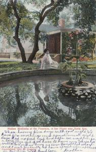 SANTA ANA, California , PU-1908 ; Madam Modjeska at the Fountain, at her Home